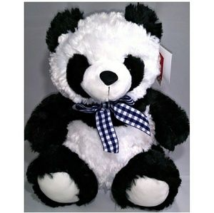 Stuffed Plush Panda Bear with Checkered Ribbon